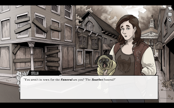 A screenshot from Scarlet Hollow, a visual novel made by Black Tabby Games.