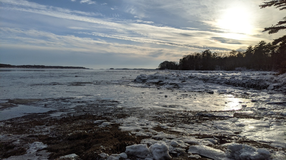 A photo of Maquoit Bay in Brunswick, Maine.